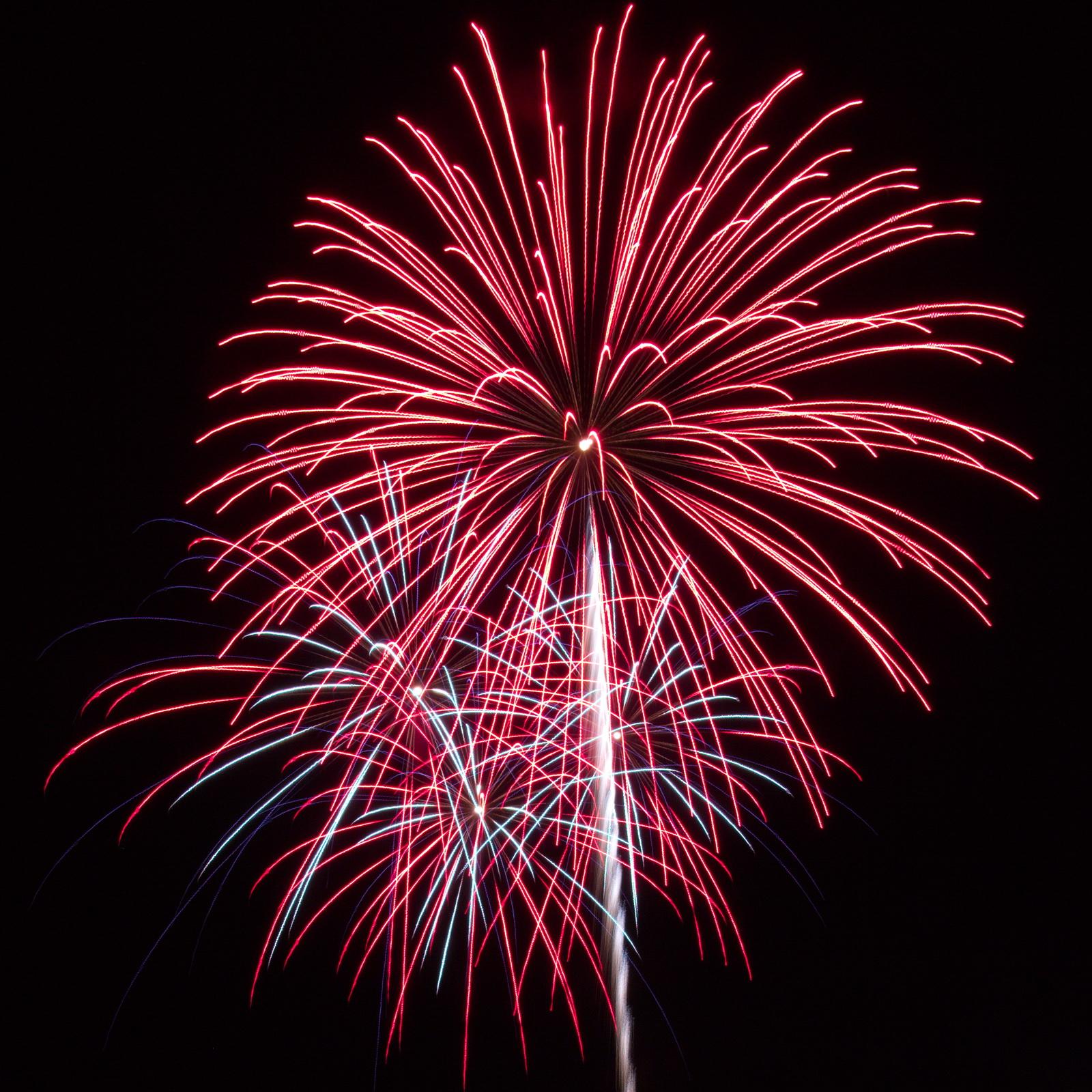 Massachusetts Fireworks: Red on red show