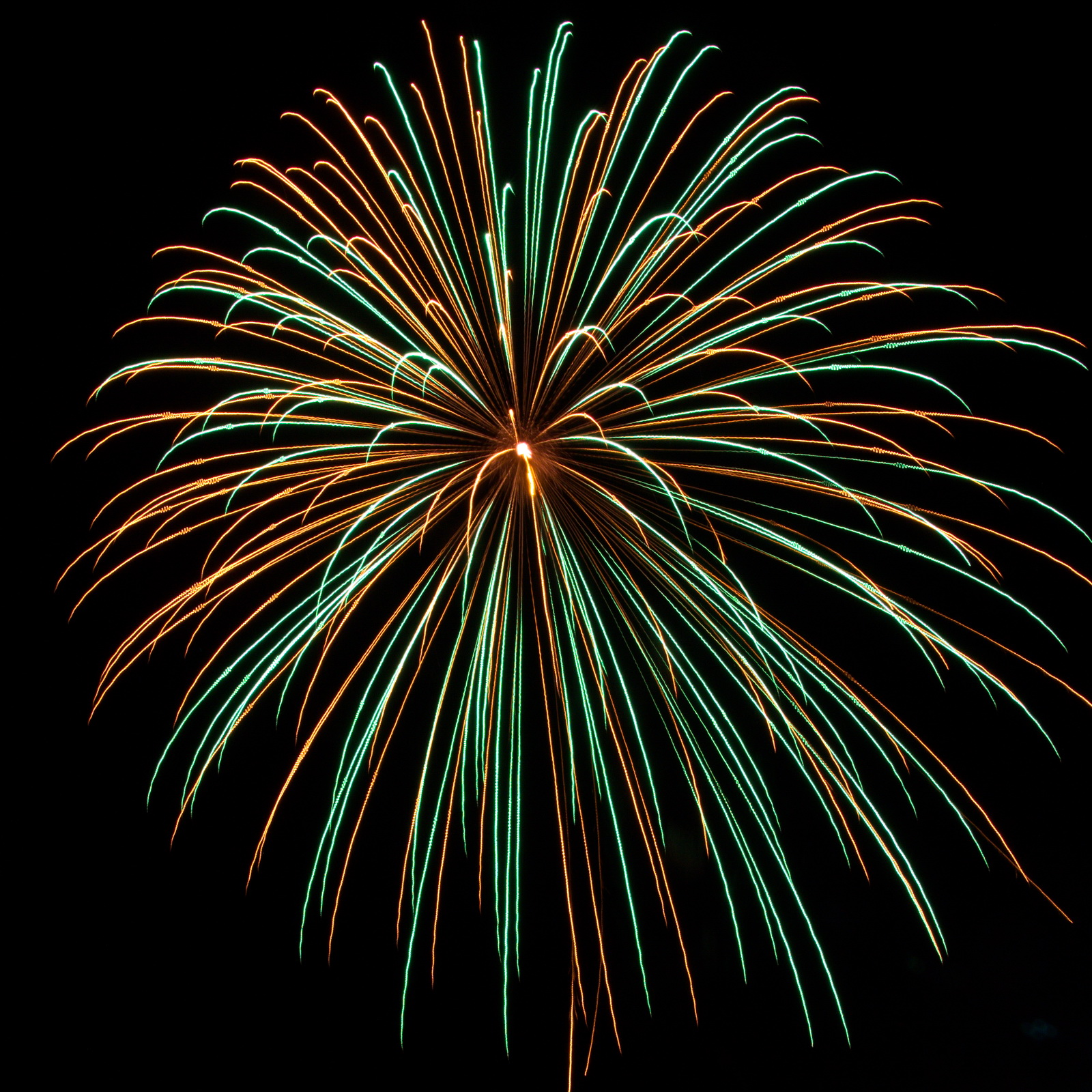 Northeast Massachusetts Fireworks: green and gold