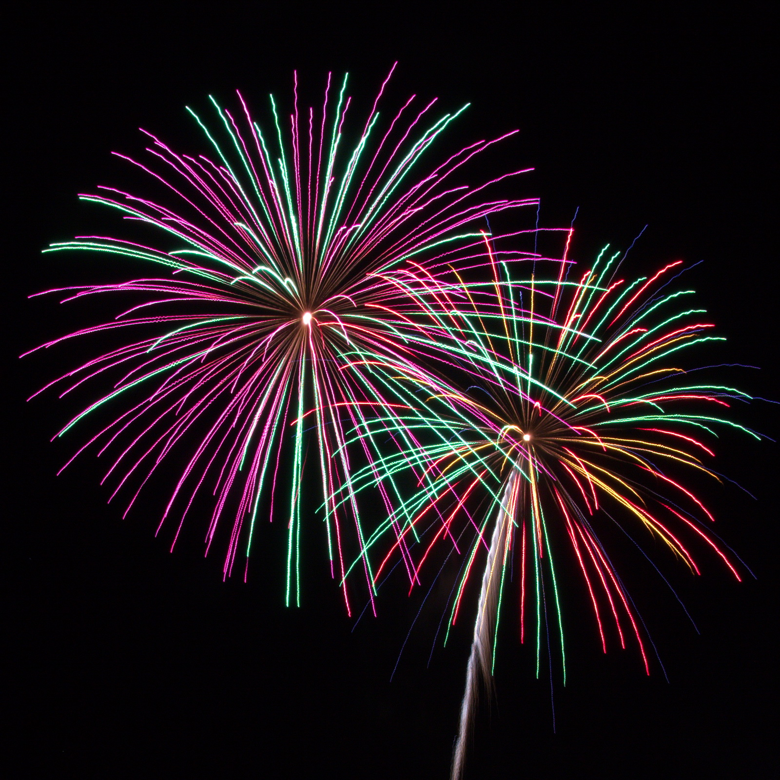 Northeast Massachusetts Fireworks: purple and mint green with yellow