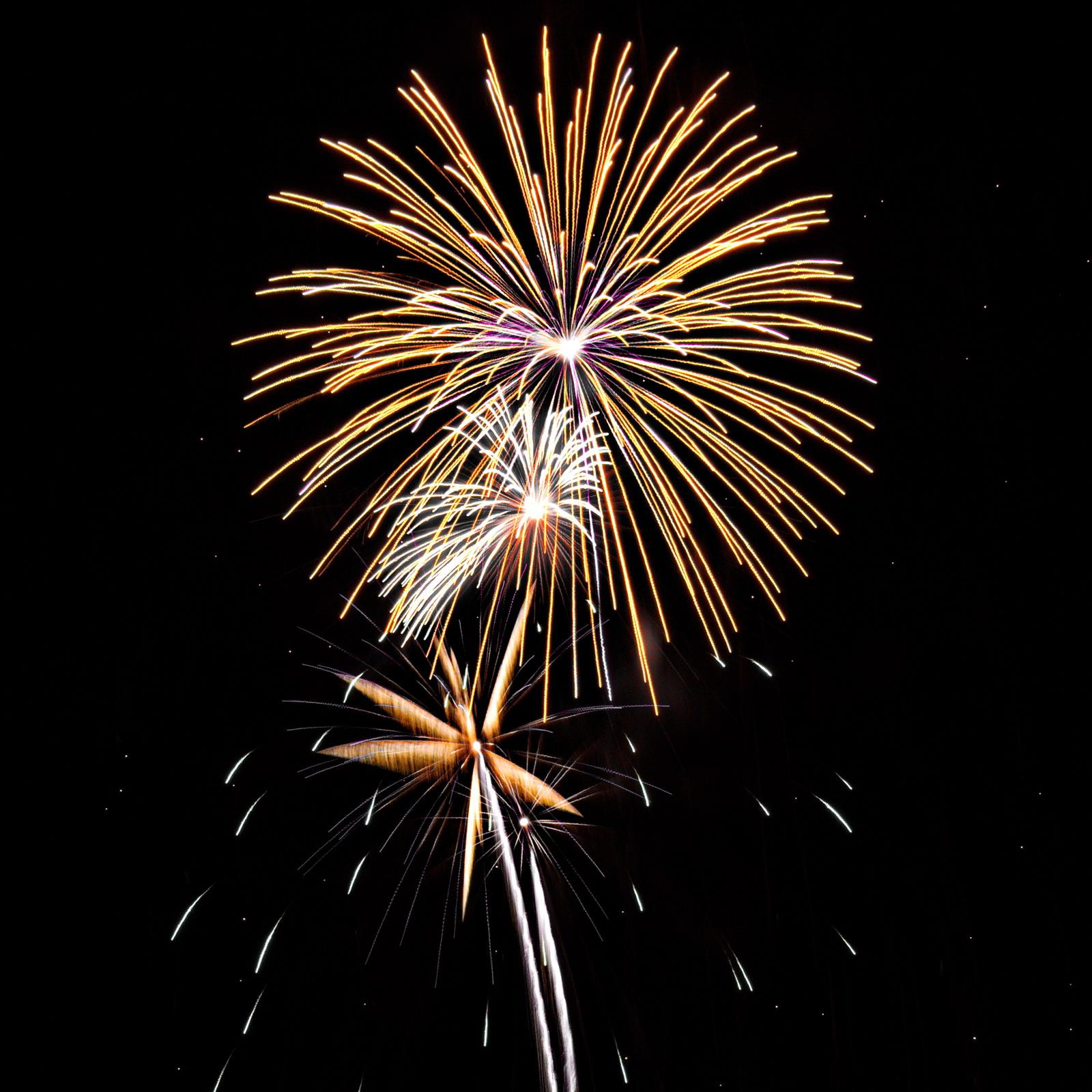 Massachusetts Fireworks: golden bursts with white