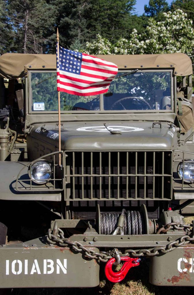 US Army Vehicle with Flag, Cars of Summer Car Show front view