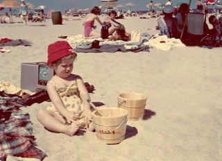 Mari with Pail on Cape Cod Beach