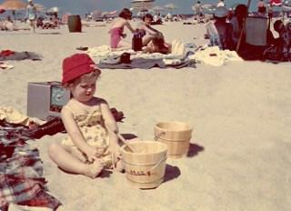 Mari with Pail on Cape Cod Beach